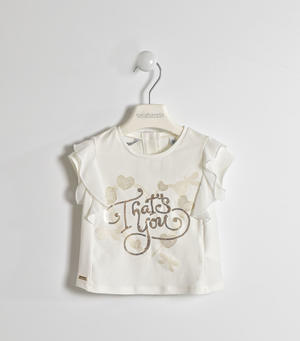 Elegant t-shirt with hearts and sequin embroidery CREAM