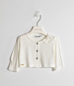 Girl's viscose shrug with three-quarter sleeves CREAM