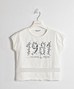 Girl's short-sleeved t-shirt in stretch cotton with sequins CREAM