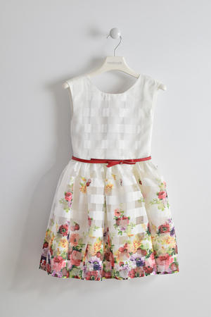 Girl's formal dress with flower print CREAM