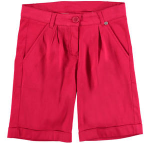 Cotton stretch satin shorts RED