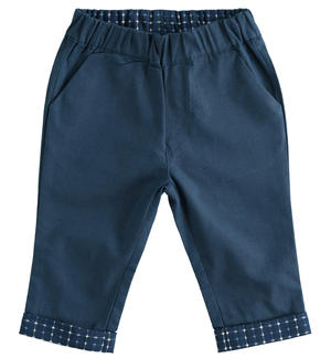 100% cotton baby boy trousers with pocket and flap of textured fabric