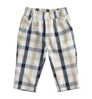 100% cotton newborn boy trousers with elegant check pattern BLUE