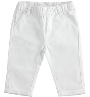 Solid colour 100% cotton baby trousers with elastic waist WHITE