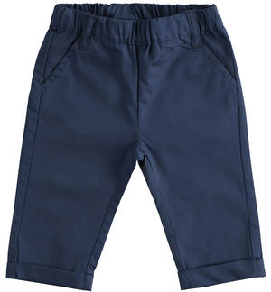 Solid colour 100% cotton baby trousers with elastic waist BLUE