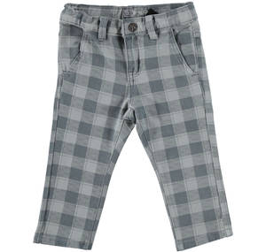 Checked stone washed non brushed stretch fleece trousers GREY
