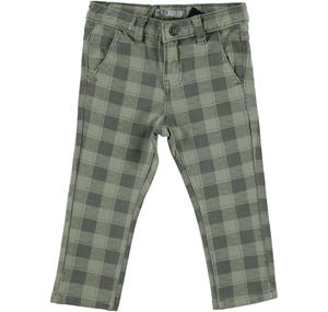 Checked stone washed non brushed stretch fleece trousers GREEN