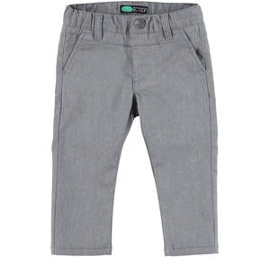 Slim fit trousers in cotton blend stretch pique for boys GREY