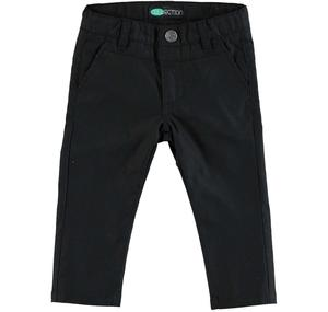 Slim fit trousers in cotton blend stretch pique for boys BLACK