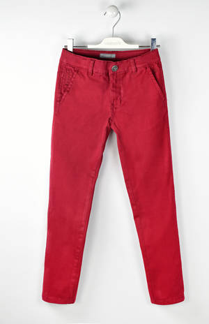 Classic solid-coloured slim fit trousers   RED