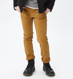 Classic solid-coloured slim fit trousers   BROWN