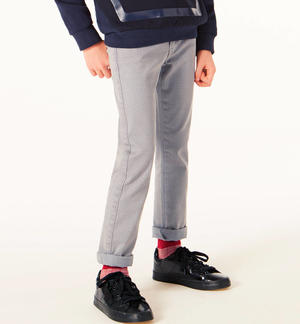 Classic solid-coloured slim fit trousers   GREY