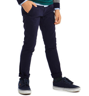 Classic solid-coloured slim fit trousers   BLUE