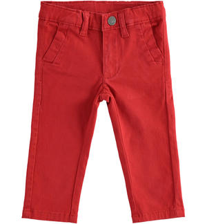 Classic stretch twill trousers RED