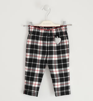 Trousers with heart and checked pattern BLACK