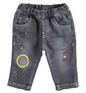 Trousers with knitted denin prints for newborn boy