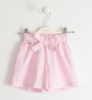 Striped 100% cotton short trousers PINK
