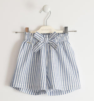 Striped 100% cotton short trousers WHITE