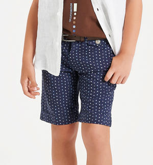 Short trousers in 100% cotton with micro polka dots BLUE