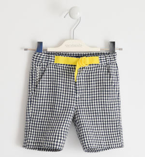 Short trousers in 100% checked linen BLUE