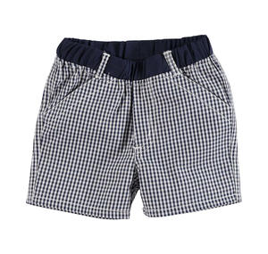 Checked shorts with solid colour waist for babies BLUE