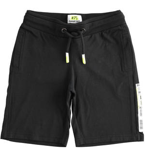 Short trousers with barcode BLACK
