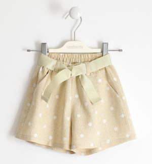 Short trousers with polka dot print in linen and viscose CREAM