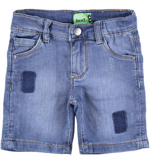 Short denim trousers with patches BLUE