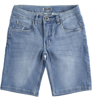 Stretch denim fleece short trousers  BLUE