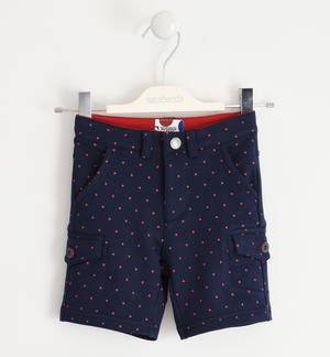 Short fleece trousers with small polka dots BLUE