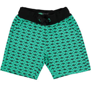 Shorts in non brushed cotton fleece GREEN