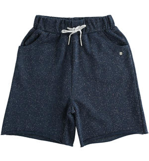 Short trousers in light lurex fleece BLUE