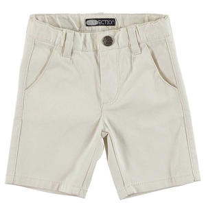 Stretch cotton pique shorts with a vertical striped pattern BEIGE