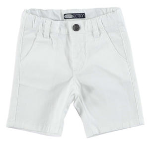 Stretch cotton pique shorts with a vertical striped pattern WHITE