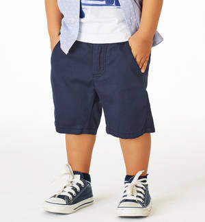 Stretch cotton pique shorts with a vertical striped pattern BLUE