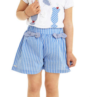Short trousers in poplin with micro-striped pattern BLUE