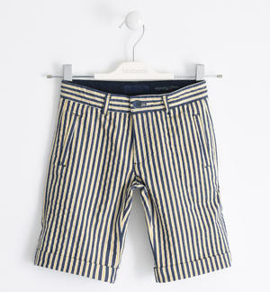 Short trousers in striped stretch poplin YELLOW