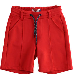 Short trousers in Milano stitch RED