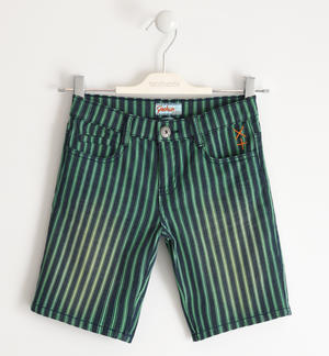 Short trousers in striped denim effect fabric