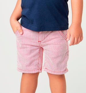 100% cotton short trousers with striped fabric RED
