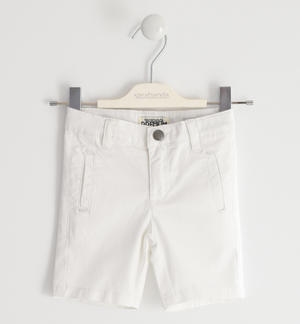 Short trousers in stretch cotton twill WHITE
