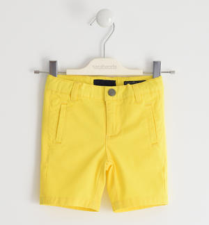 Short trousers in stretch cotton twill YELLOW