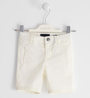 Short trousers in stretch cotton twill CREAM