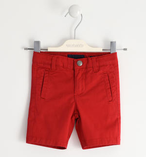 Short trousers in stretch cotton twill RED