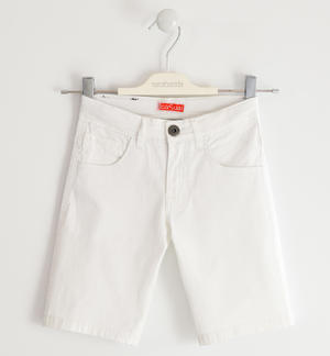 Pantalone corto in twill stretch BIANCO