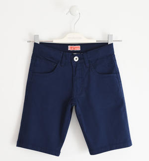 Stretch cotton twill short trousers BLUE