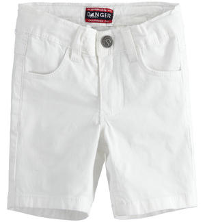 Solid-coloured stretch twill short trousers WHITE