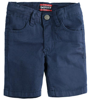 Solid-coloured stretch twill short trousers BLUE