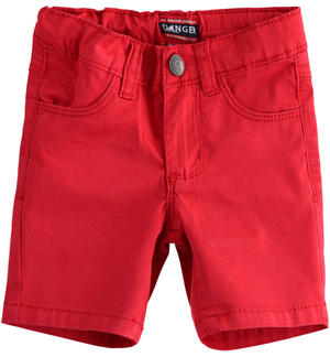 Solid-coloured stretch twill short trousers RED