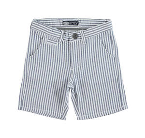 Embossed yarn-dyed cotton striped shorts BLUE